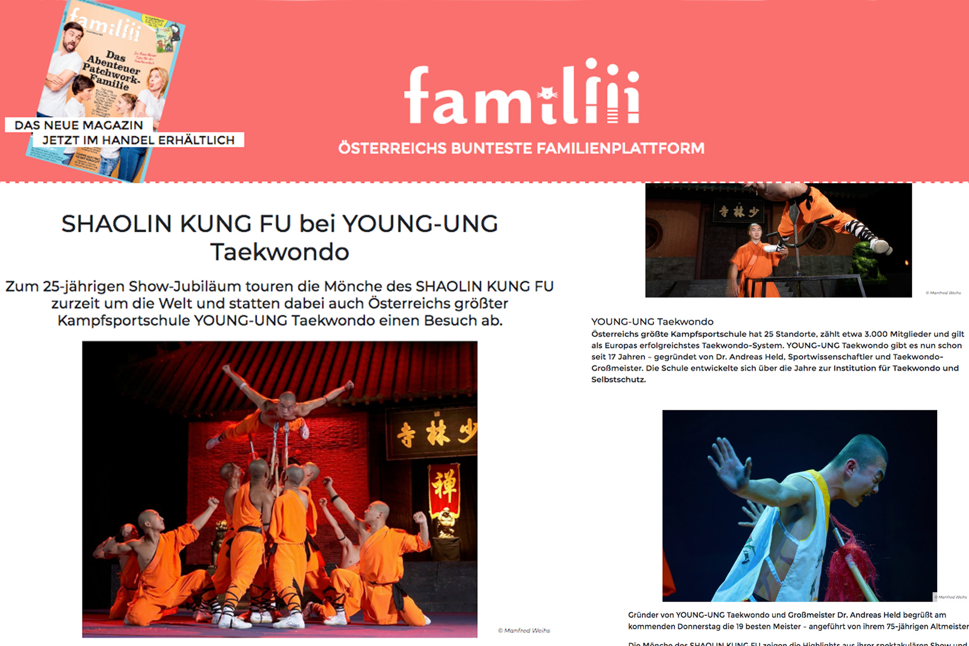 Kung Fu-Mönche in Happy Familiii