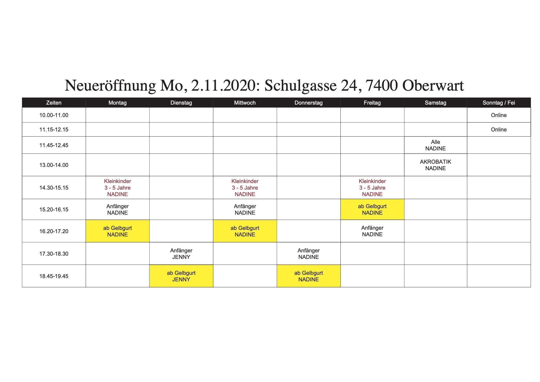 YOUNG-UNG Taekwondo Oberwart Stundenplan